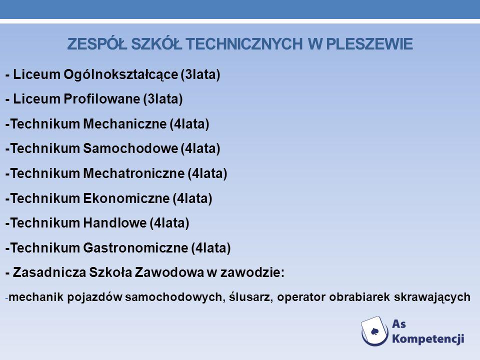 - Liceum Ogólnokształcące (3lata) - Liceum Profilowane (3lata) -Technikum Mechaniczne (4lata) -Technikum Samochodowe (4lata) -Technikum Mechatroniczne