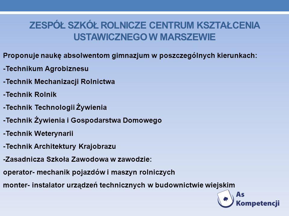 Proponuje naukę absolwentom gimnazjum w poszczególnych kierunkach: -Technikum Agrobiznesu -Technik Mechanizacji Rolnictwa -Technik Rolnik -Technik Tec