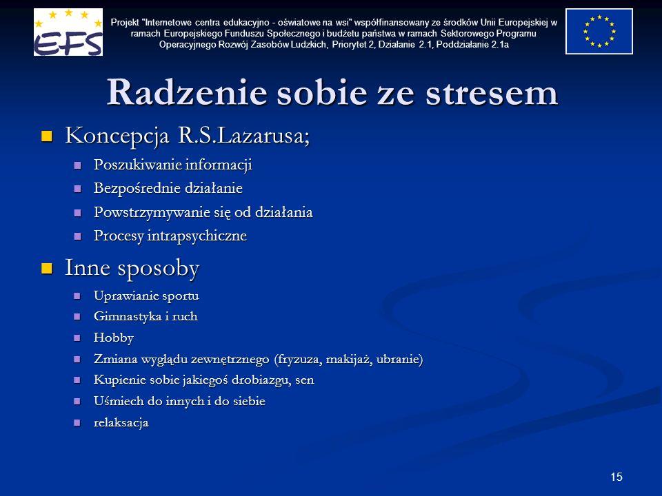 15 Radzenie sobie ze stresem Koncepcja R.S.Lazarusa; Koncepcja R.S.Lazarusa; Poszukiwanie informacji Poszukiwanie informacji Bezpośrednie działanie Be