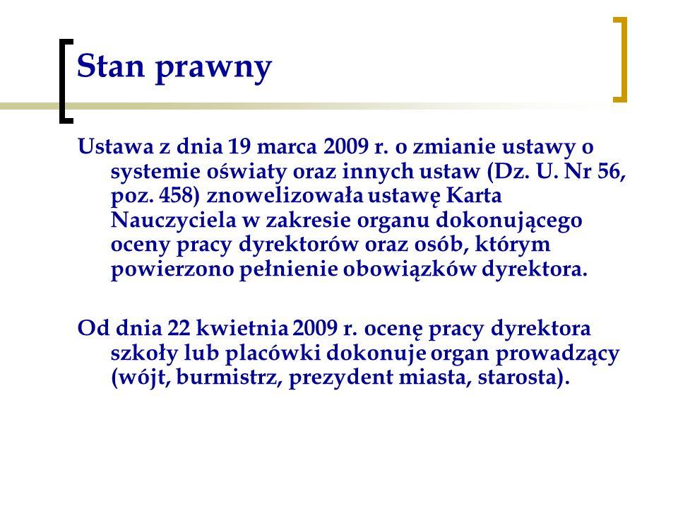 Stan prawny Ustawa z dnia 19 marca 2009 r. o zmianie ustawy o systemie oświaty oraz innych ustaw (Dz. U. Nr 56, poz. 458) znowelizowała ustawę Karta N