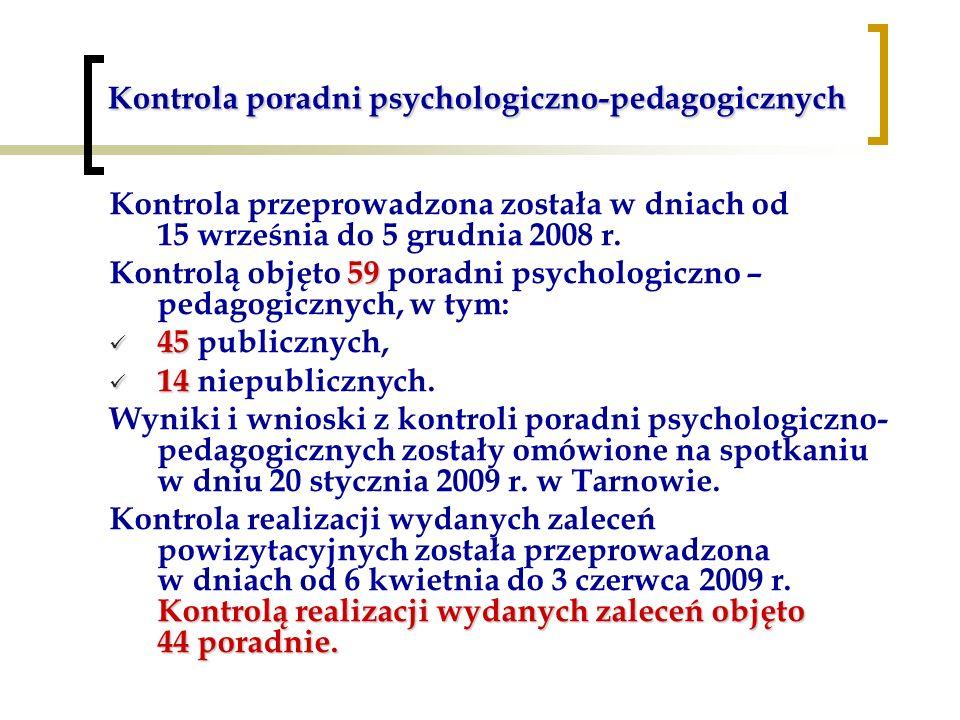 Kontrola poradni psychologiczno-pedagogicznych Kontrola przeprowadzona została w dniach od 15 września do 5 grudnia 2008 r. 59 Kontrolą objęto 59 pora