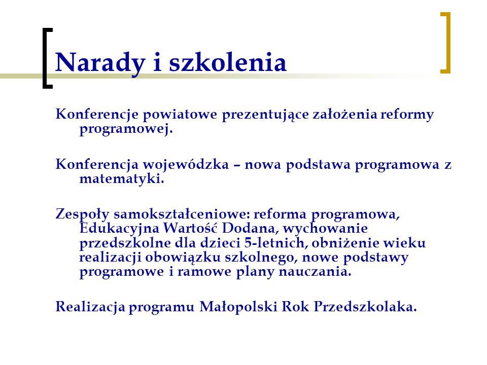 Narady i szkolenia Konferencje powiatowe prezentujące założenia reformy programowej. Konferencja wojewódzka – nowa podstawa programowa z matematyki. Z