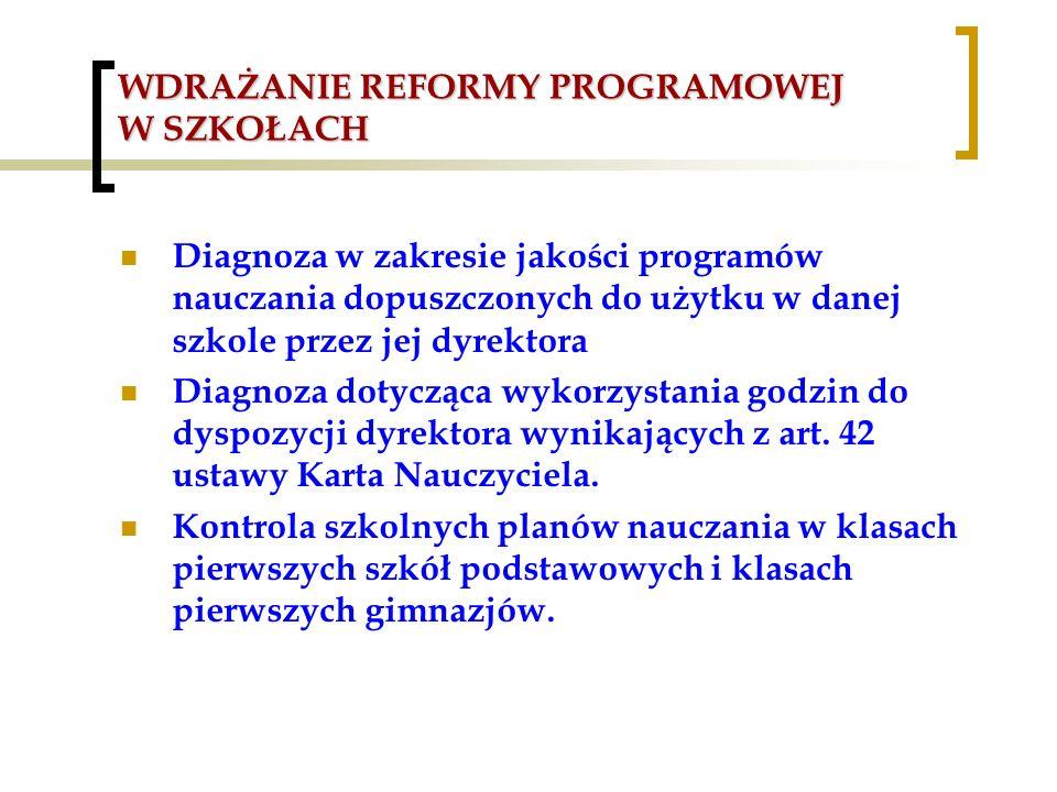 WDRAŻANIE REFORMY PROGRAMOWEJ W SZKOŁACH Diagnoza w zakresie jakości programów nauczania dopuszczonych do użytku w danej szkole przez jej dyrektora Di