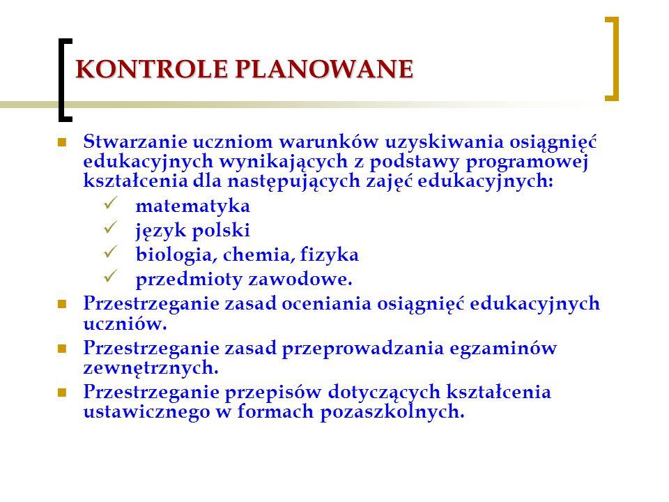 KONTROLE PLANOWANE Stwarzanie uczniom warunków uzyskiwania osiągnięć edukacyjnych wynikających z podstawy programowej kształcenia dla następujących zajęć edukacyjnych: matematyka język polski biologia, chemia, fizyka przedmioty zawodowe.