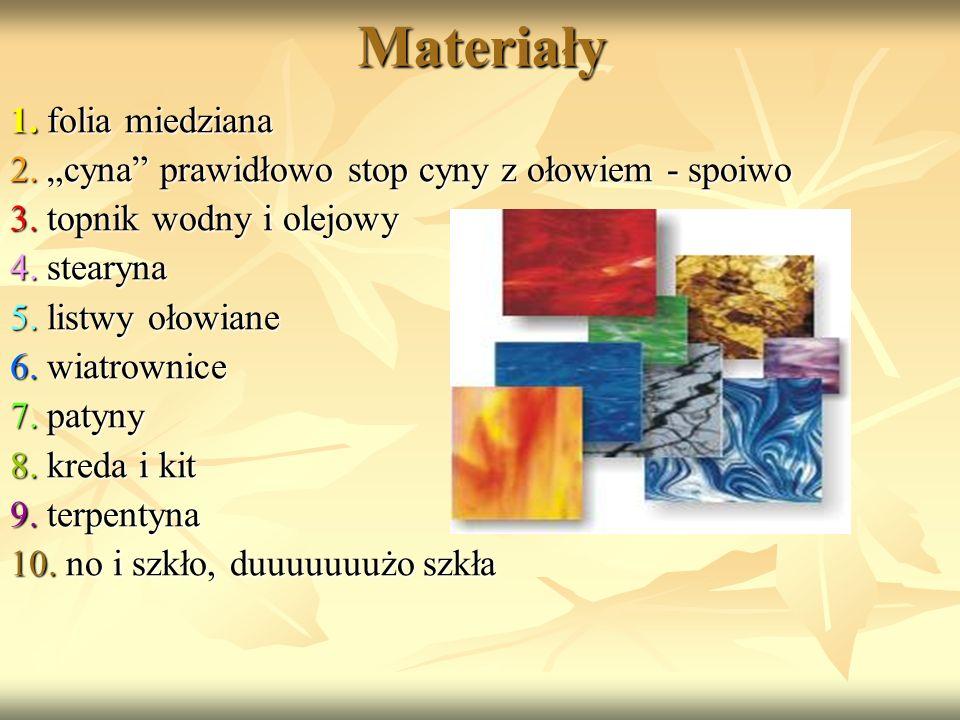 Materiały 1. folia miedziana 1. folia miedziana 2. cyna prawidłowo stop cyny z ołowiem - spoiwo 2. cyna prawidłowo stop cyny z ołowiem - spoiwo 3. top