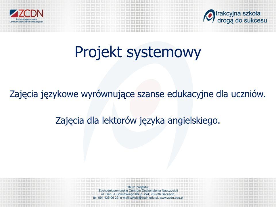 Projekt systemowy Zajęcia językowe wyrównujące szanse edukacyjne dla uczniów. Zajęcia dla lektorów języka angielskiego.