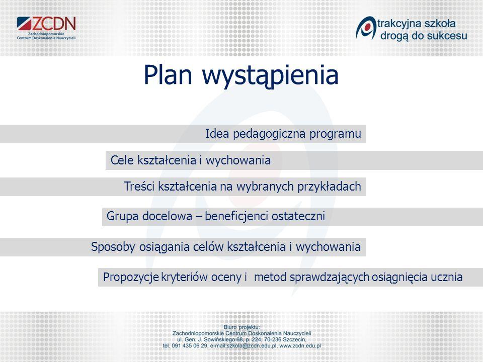 Plan wystąpienia Idea pedagogiczna programu Cele kształcenia i wychowania Treści kształcenia na wybranych przykładach Grupa docelowa – beneficjenci os