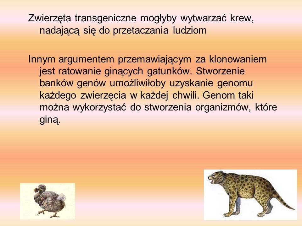 Zwierzęta z precyzyjnie zaaranżowaną konstytucją genetyczną można by także wykorzystać w bezpośredni sposób, czyli w opartych na komórkach terapiach p