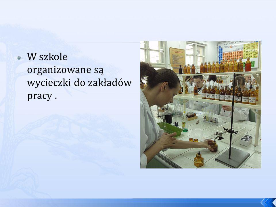 W szkole organizowane są wycieczki do zakładów pracy.