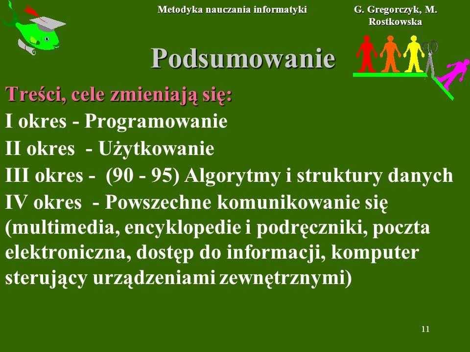 Metodyka nauczania informatyki G. Gregorczyk, M. Rostkowska 11 Podsumowanie Treści, cele zmieniają się: I okres - Programowanie II okres - Użytkowanie