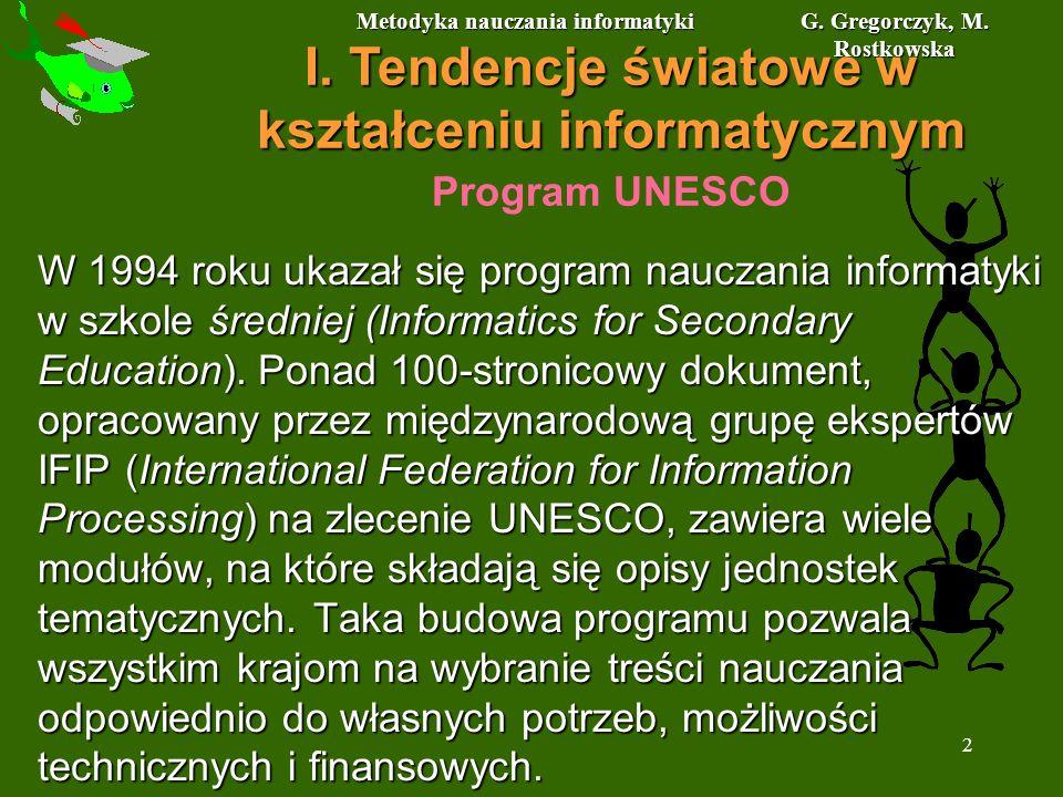 Metodyka nauczania informatyki G. Gregorczyk, M. Rostkowska 2 Program UNESCO W 1994 roku ukazał się program nauczania informatyki w szkole średniej (I