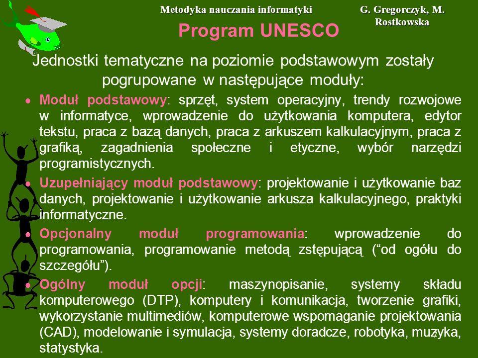 Metodyka nauczania informatyki G. Gregorczyk, M. Rostkowska 7 Program UNESCO Jednostki tematyczne na poziomie podstawowym zostały pogrupowane w następ