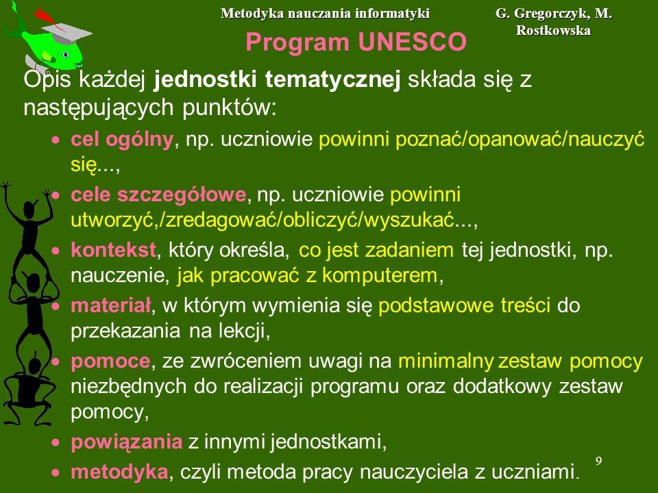 Metodyka nauczania informatyki G. Gregorczyk, M. Rostkowska 9 Program UNESCO Opis każdej jednostki tematycznej składa się z następujących punktów: cel