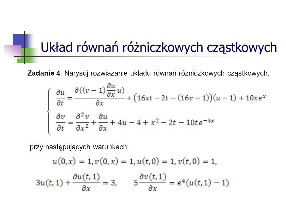Układ równań różniczkowych cząstkowych Zadanie 4.