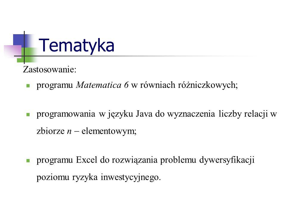 Tematyka programu Matematica 6 w równiach różniczkowych; programowania w języku Java do wyznaczenia liczby relacji w zbiorze n elementowym; programu Excel do rozwiązania problemu dywersyfikacji poziomu ryzyka inwestycyjnego.