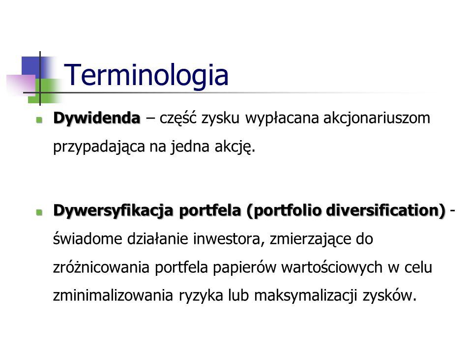 Terminologia Dywidenda Dywidenda – część zysku wypłacana akcjonariuszom przypadająca na jedna akcję.