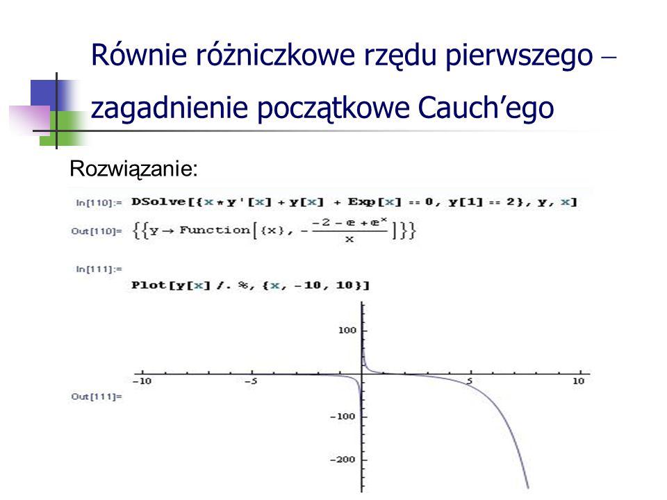 Równie różniczkowe rzędu pierwszego zagadnienie początkowe Cauchego Rozwiązanie: