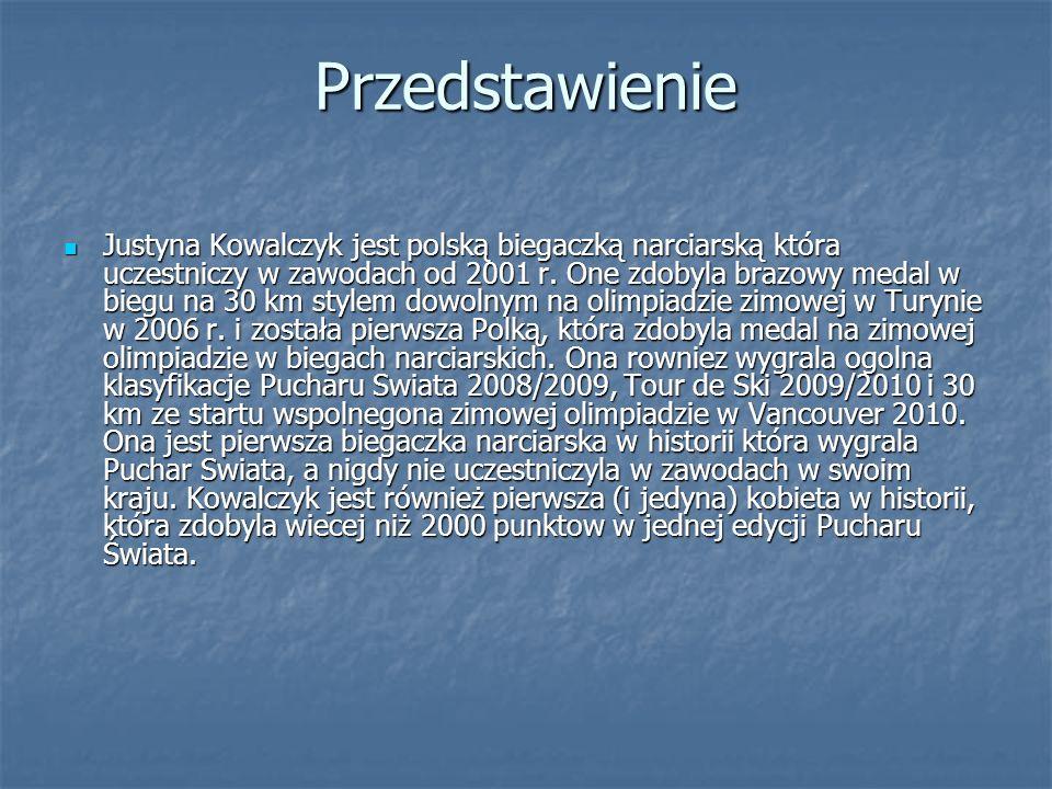 Przedstawienie Justyna Kowalczyk jest polską biegaczką narciarską która uczestniczy w zawodach od 2001 r. One zdobyla brazowy medal w biegu na 30 km s