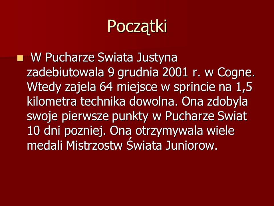 Początki W Pucharze Swiata Justyna zadebiutowala 9 grudnia 2001 r. w Cogne. Wtedy zajela 64 miejsce w sprincie na 1,5 kilometra technika dowolna. Ona