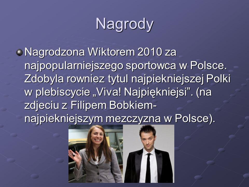 Nagrody Nagrodzona Wiktorem 2010 za najpopularniejszego sportowca w Polsce. Zdobyla rowniez tytul najpiekniejszej Polki w plebiscycie Viva! Najpięknie