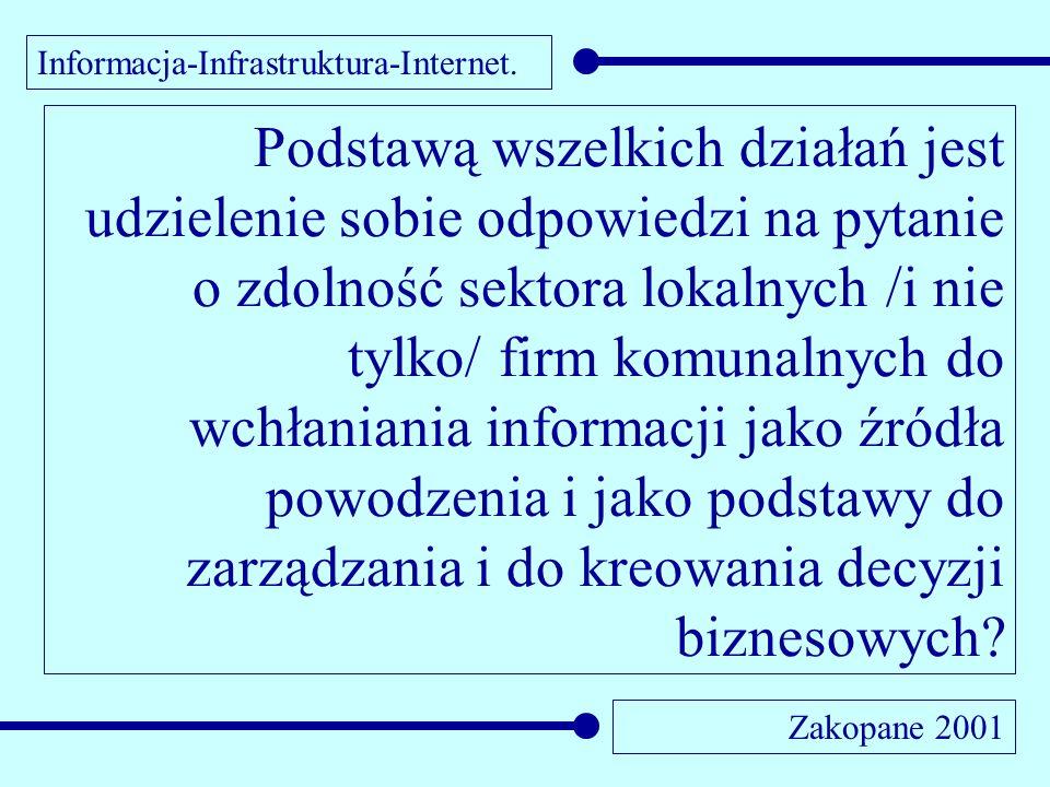 Informacja-Infrastruktura-Internet. Zakopane 2001 Podstawą wszelkich działań jest udzielenie sobie odpowiedzi na pytanie o zdolność sektora lokalnych