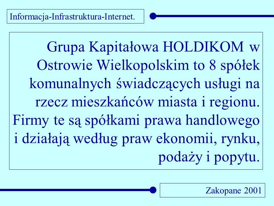Informacja-Infrastruktura-Internet. Zakopane 2001 Grupa Kapitałowa HOLDIKOM w Ostrowie Wielkopolskim to 8 spółek komunalnych świadczących usługi na rz