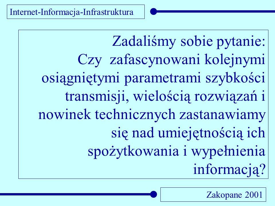Internet-Informacja-Infrastruktura Zakopane 2001 Zadaliśmy sobie pytanie: Czy zafascynowani kolejnymi osiągniętymi parametrami szybkości transmisji, w