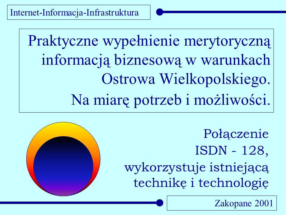 Internet-Informacja-Infrastruktura Zakopane 2001 Praktyczne wypełnienie merytoryczną informacją biznesową w warunkach Ostrowa Wielkopolskiego. Na miar