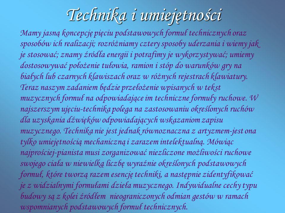 Technika i umiejętności Mamy jasną koncepcję pięciu podstawowych formuł technicznych oraz sposobów ich realizacji; rozróżniamy cztery sposoby uderzani