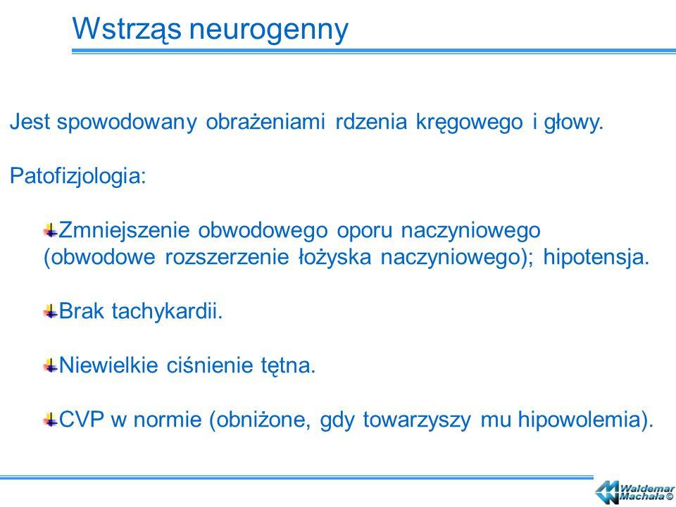 Wstrząs neurogenny Jest spowodowany obrażeniami rdzenia kręgowego i głowy. Patofizjologia: Zmniejszenie obwodowego oporu naczyniowego (obwodowe rozsze