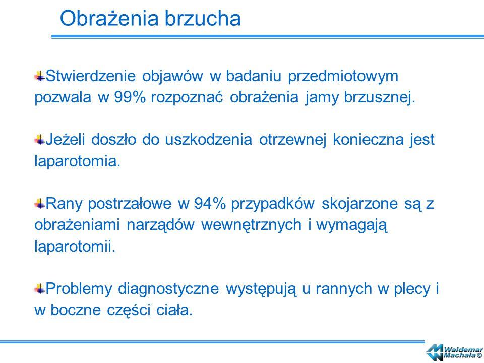 Obrażenia brzucha Stwierdzenie objawów w badaniu przedmiotowym pozwala w 99% rozpoznać obrażenia jamy brzusznej. Jeżeli doszło do uszkodzenia otrzewne
