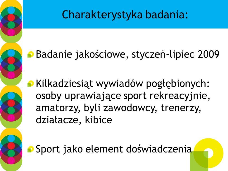 Charakterystyka badania: Badanie jakościowe, styczeń-lipiec 2009 Kilkadziesiąt wywiadów pogłębionych: osoby uprawiające sport rekreacyjnie, amatorzy,