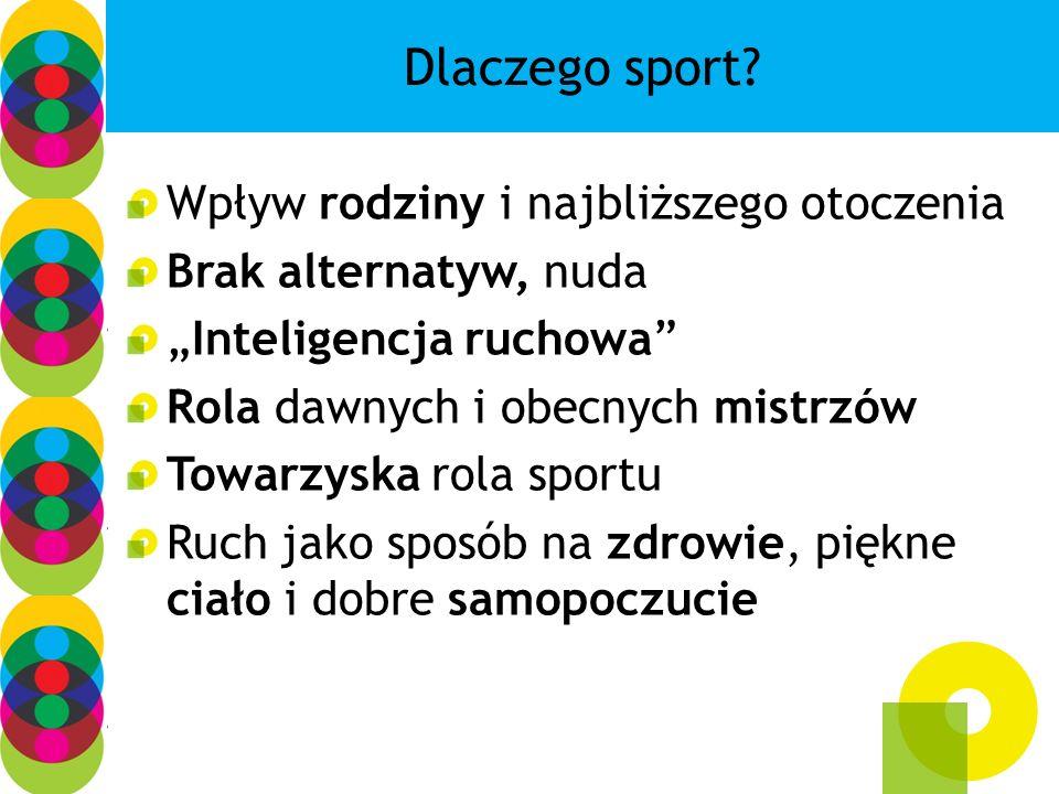 Bariery dla sportu: Brak infrastruktury (makro, ale przede wszystkim mikro) Wstyd, drwina, sensacja Finanse, wielkość miejsca zamieszkania Alternatywne atrakcje Wejście w nowy etap życia