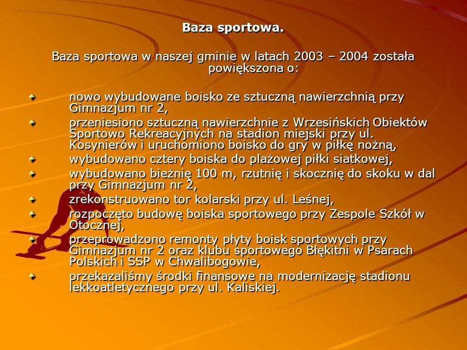 Baza sportowa. Baza sportowa w naszej gminie w latach 2003 – 2004 została powiększona o: nowo wybudowane boisko ze sztuczną nawierzchnią przy Gimnazju