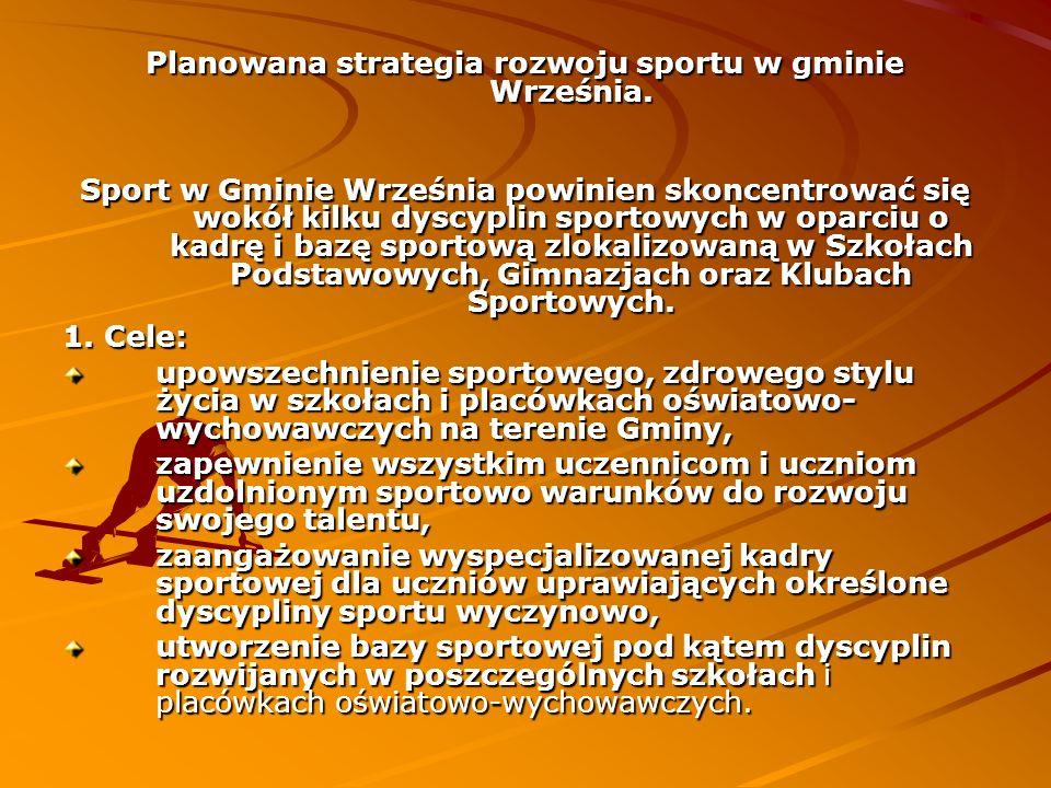 Planowana strategia rozwoju sportu w gminie Września. Sport w Gminie Września powinien skoncentrować się wokół kilku dyscyplin sportowych w oparciu o