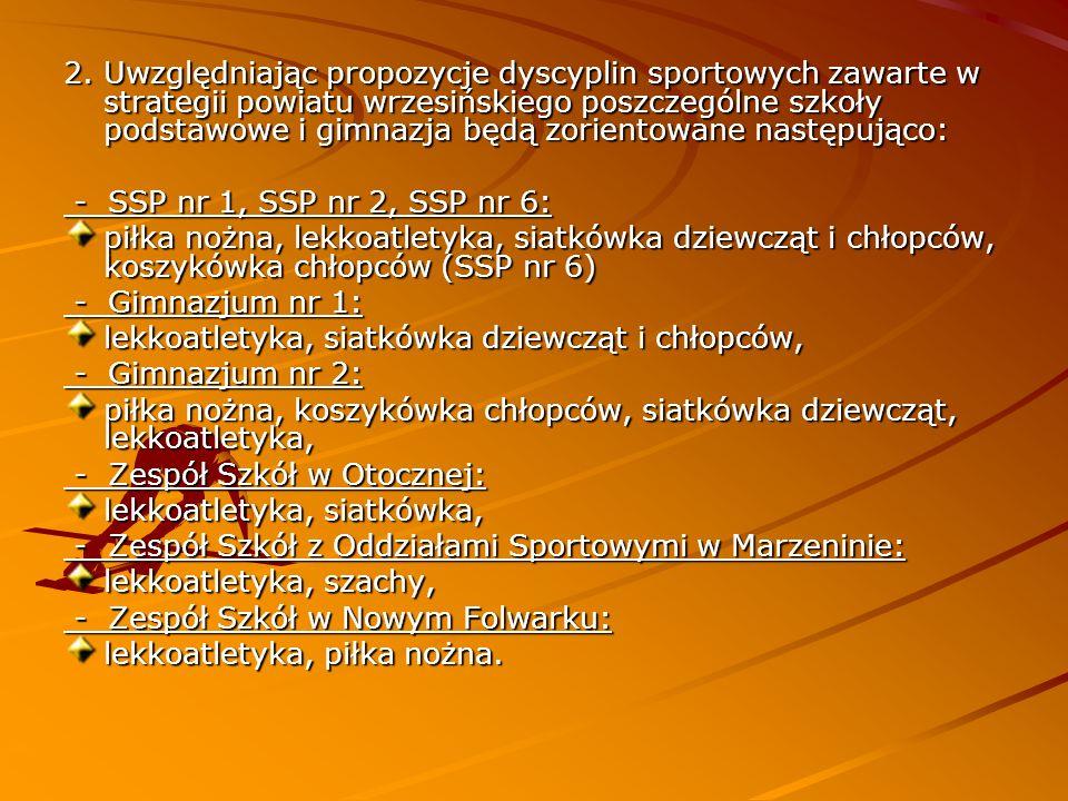 2. Uwzględniając propozycje dyscyplin sportowych zawarte w strategii powiatu wrzesińskiego poszczególne szkoły podstawowe i gimnazja będą zorientowane