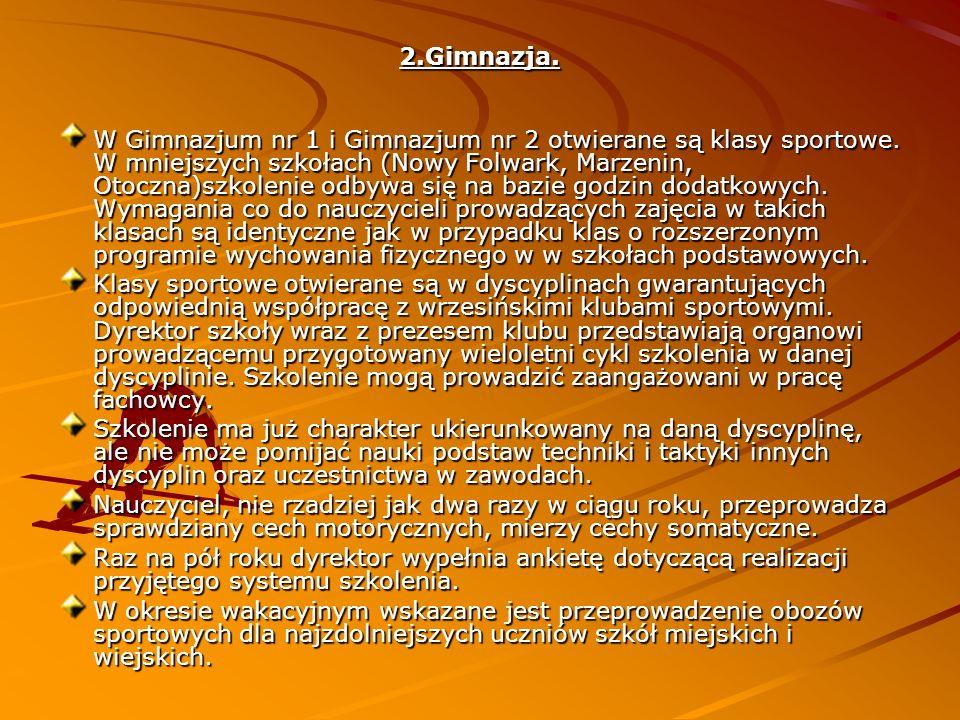 2.Gimnazja. W Gimnazjum nr 1 i Gimnazjum nr 2 otwierane są klasy sportowe.