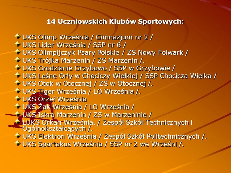 14 Uczniowskich Klubów Sportowych: UKS Olimp Września / Gimnazjum nr 2 / UKS Lider Września / SSP nr 6 / UKS Olimpijczyk Psary Polskie / ZS Nowy Folwa