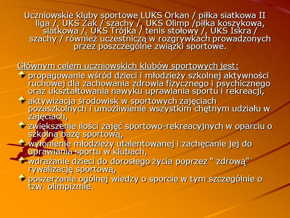 Uczniowskie kluby sportowe LUKS Orkan / piłka siatkowa II liga /, UKS Żak / szachy /, UKS Olimp /piłka koszykowa, siatkowa /, UKS Trójka / tenis stoło