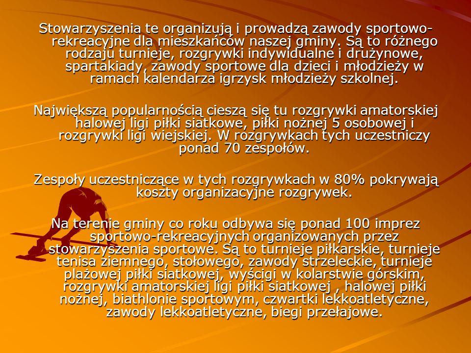 Oprócz stowarzyszeń sportowych również Urząd Miasta i Gminy jest organizatorem wielu imprez sportowo rekreacyjnych.