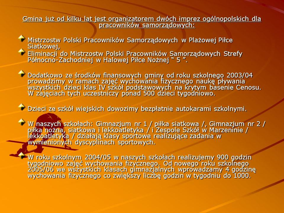 Gmina już od kilku lat jest organizatorem dwóch imprez ogólnopolskich dla pracowników samorządowych: Mistrzostw Polski Pracowników Samorządowych w Pla