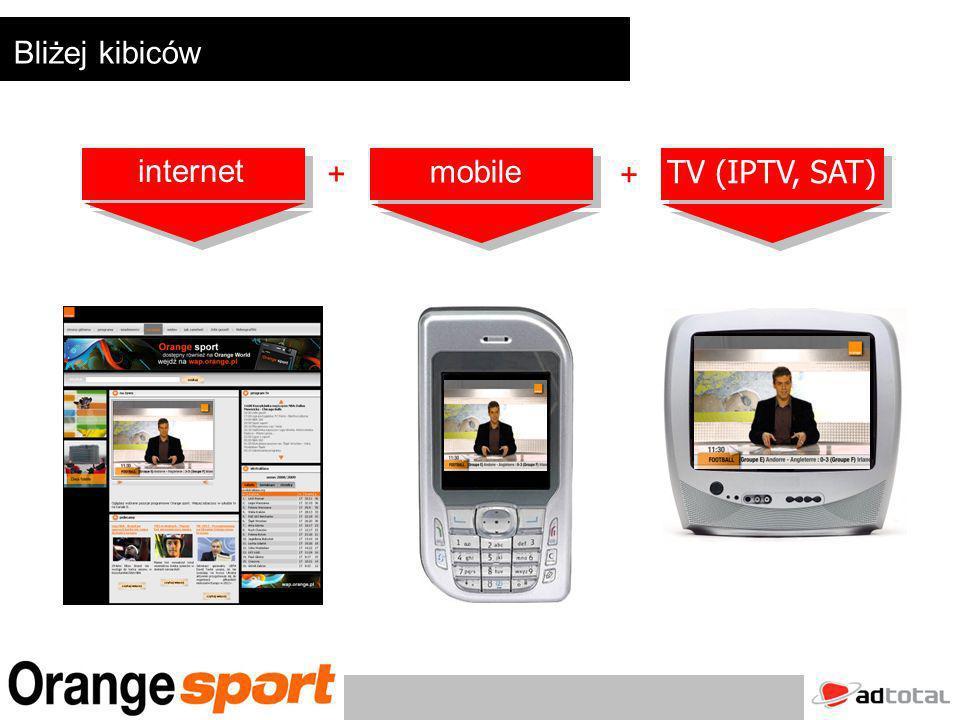 Bliżej kibiców + + internet mobile TV (IPTV, SAT)