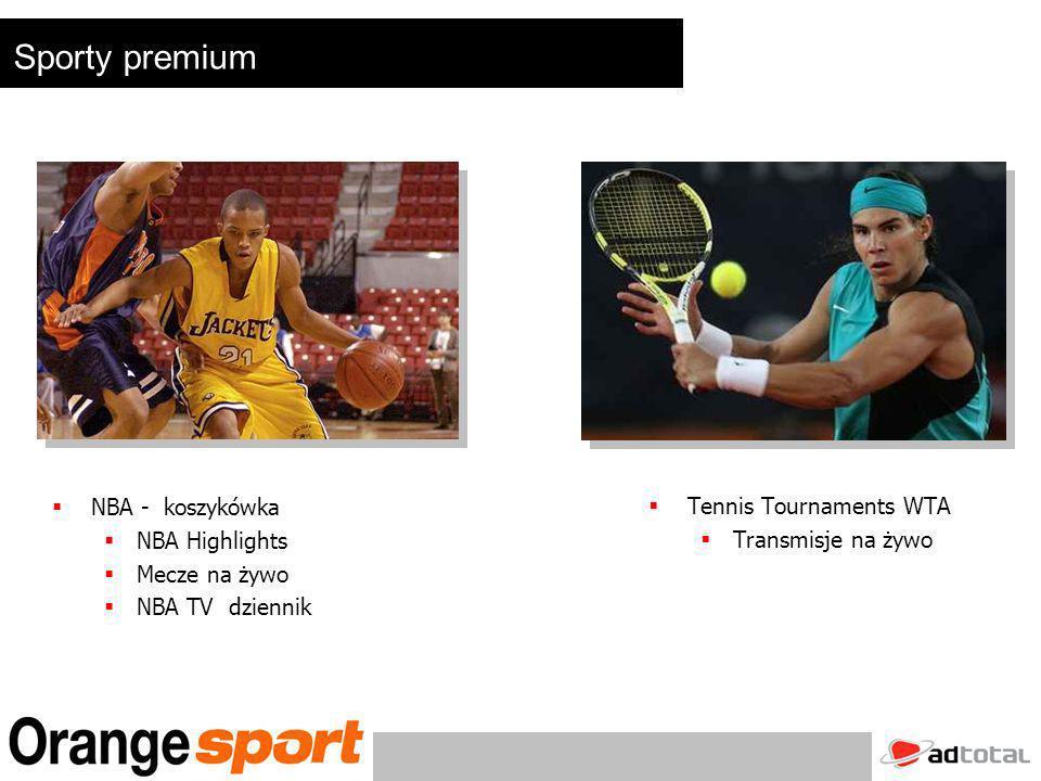 Tennis Tournaments WTA Transmisje na żywo NBA - koszykówka NBA Highlights Mecze na żywo NBA TV dziennik Sporty premium