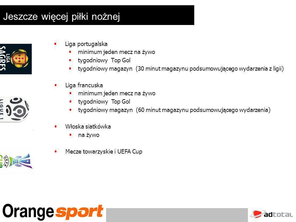 Produkcje Orange Sport Programy własnej produkcji : 2 Fotele – 30 minutowe dyskusje ze sławnymi ludźmi ze świata sportu (Boniek, Kolecki, Idzi, Listkiewicz, Gmoch) Dzień z mistrzem – towarzyszymy mistrzom przez jeden dzień (Diablo Wlodarczyk, Kolecki) Ekstraklasa raport – tygodniowy magazyn prezentujący najważniejsze wydarzenia w Ekstraklasie Fitness – ćwiczenia dla kobiet w centrum Warszawy