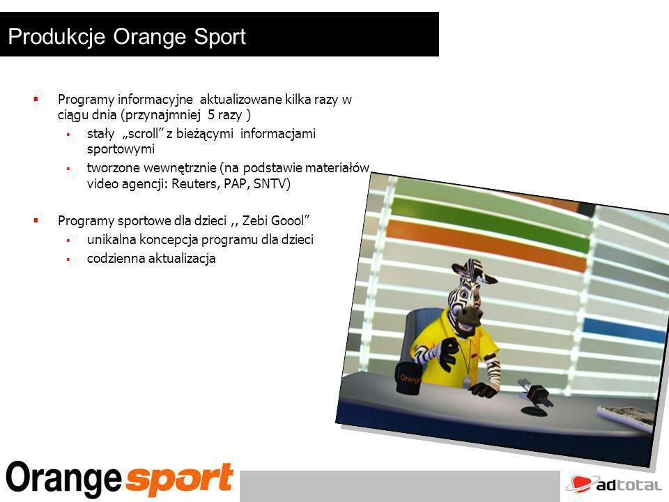 Oferta sponsorska Cennik emisji bilboardów sponsorskich w TV Orange Sport Pakiet 100 bilboardów- 12 000 zł Pakiet 200 bilboardów- 20 000 zł Podane kwoty podlegają negocjacjom