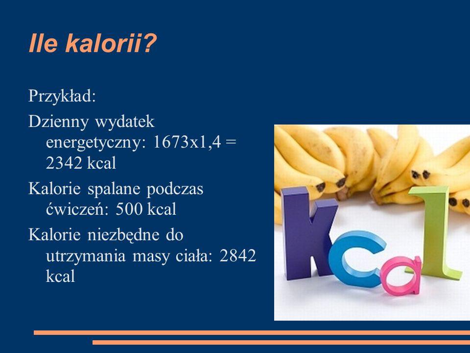 Ile kalorii? Przykład: Dzienny wydatek energetyczny: 1673x1,4 = 2342 kcal Kalorie spalane podczas ćwiczeń: 500 kcal Kalorie niezbędne do utrzymania ma