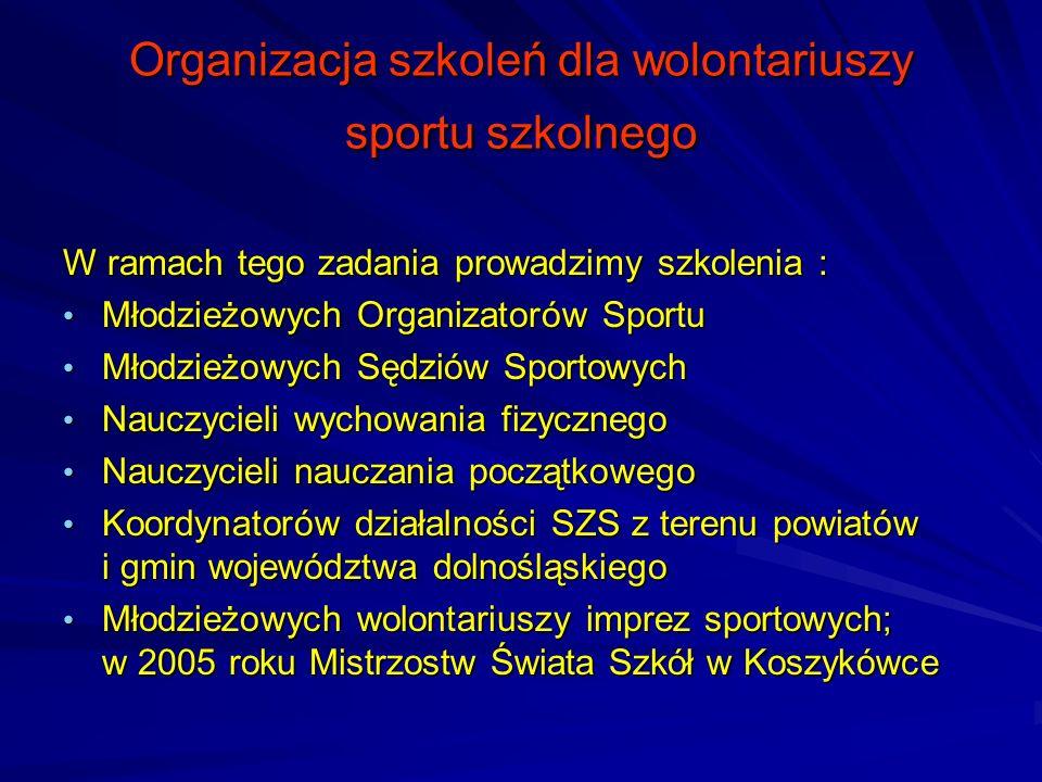 Organizacja szkoleń dla wolontariuszy sportu szkolnego W ramach tego zadania prowadzimy szkolenia : Młodzieżowych Organizatorów Sportu Młodzieżowych O