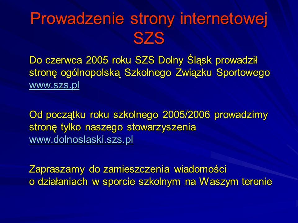 Prowadzenie strony internetowej SZS Do czerwca 2005 roku SZS Dolny Śląsk prowadził stronę ogólnopolską Szkolnego Związku Sportowego www.szs.pl www.szs