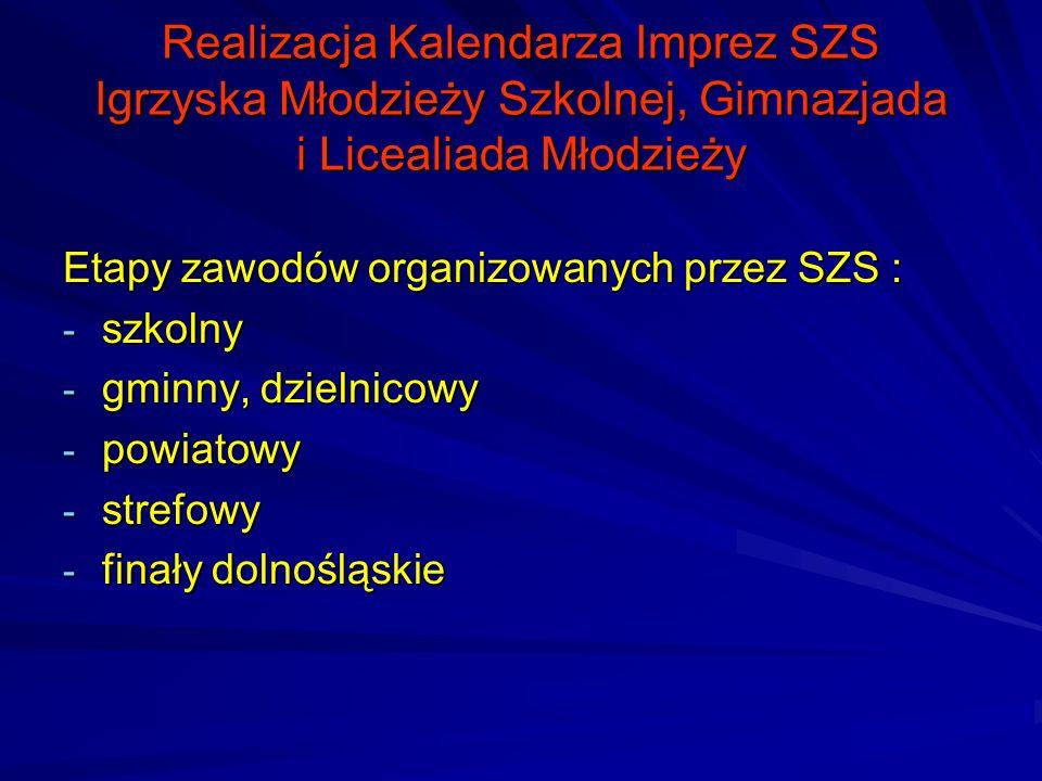 Realizacja Kalendarza Imprez SZS Igrzyska Młodzieży Szkolnej, Gimnazjada i Licealiada Młodzieży Etapy zawodów organizowanych przez SZS : - szkolny - g