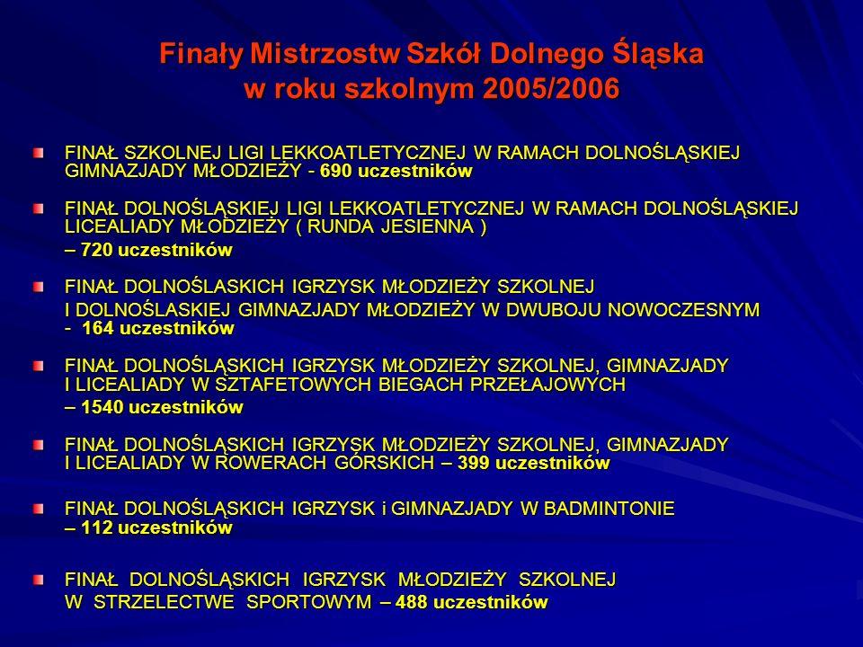 Finały Mistrzostw Szkół Dolnego Śląska w roku szkolnym 2005/2006 FINAŁ SZKOLNEJ LIGI LEKKOATLETYCZNEJ W RAMACH DOLNOŚLĄSKIEJ GIMNAZJADY MŁODZIEŻY - 69